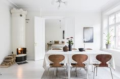 my scandinavian home: Warm brown tones in a white Swedish home