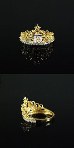 Other Fine Rings 177030: 10K Solid Yellow Gold Size 6-9 Sweet 15 Anos Birthday Quinceanera Crown Ring BUY IT NOW ONLY: $127.99
