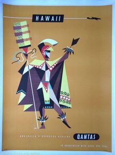 Original Travel Poster Hawaii Qantas BOAC TEAL 39x29 Vintage Airline Art Linen #Vintage