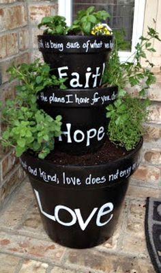 Faith Hope & Love flower pots
