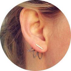 Oxidized Triple Leaf Ear Jackets and Silver Bar by RenegadeSilver