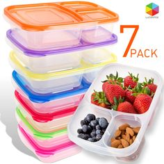 Amazon.com: Bento Lunch Box | Meal Prep Containers | 7 Pack | Reusable 3-Compartment Plastic Divided Food Storage Container Boxes for Kids & Adults | Microwave, Dishwasher and Freezer Safe by Lucentee: Kitchen & Dining | @giftryapp