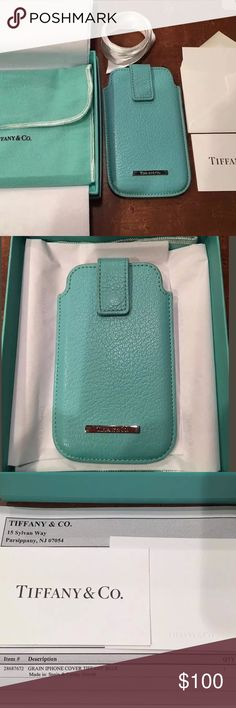 TIFFANY & CO. Leather Case Authentic! RARE, no longer made!  Can be used for many other things, receipts, bill holder, iPod, the list goes on! Authentic Tiffany & Co. Grain Leather, Tiffany Blue, iPhone 4 /4s cover/ case. Original box, Tiffany pouch, blank gift tag and envelope, and original white ribbon included. Very gently used, has slight wear at the buckle as shown in photo. Was purchased new from Tiffany.com  Please ask any questions as I am always happy to help. Tiffany & Co…