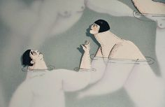 Water Women: Swimming Figures Dip in and out of Water by Sonia Alins | Colossal