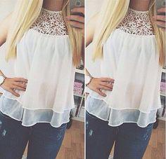 ef09c47871e96 Blusas femininas 2015 Plus Size Summer Sleeveless Lace Flower Crochet Chiffon  Shirt Women Casual Loose White