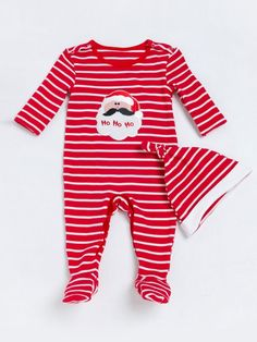 Infant Christmas Outfit: Stripe Santa Jumpsuit and Stripe Beanie. Up to 70% OFF for Babywears on Black Friday. #jumpsuitoutfit #christmas2017 #babyclothes