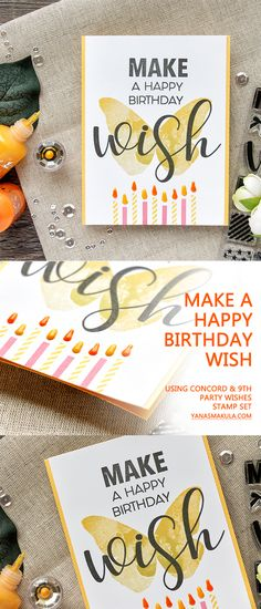 Make a Happy Birthday Wish card with Concord & 9th Party Wishes and Butterfly Beauty stamp sets. Birthday candles card. Handmade birthday card. Stamping. Watercolor-like butterfly.