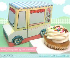 ice cream truck -  cupcake box, gift favor box, party centerpiece printable