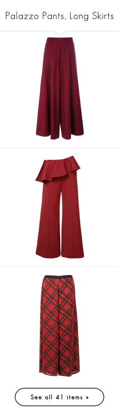 """""""Palazzo Pants, Long Skirts"""" by judymjohnson ❤ liked on Polyvore featuring pants, palazzo pants, palazzo trousers, red palazzo pants, red pants, red trousers, rosie assoulin, red stretch pants, pleated pants and stretch trousers"""