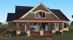 House Plan 098-00263 - Approximately 1,866 square feet of living space is found in this Bungalow House Design. 3 bedrooms and 2 baths along with additional space in the upper level bonus room are featured. The open concept is a beautiful layout with a see-thru fireplace between the family room and flex space, a truly unique space.