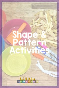 Check out this fun & simple shape and pattern activity you can do at home with your little ones.   #shapes #patterns #learningfromhome Motor Skills Activities, Fine Motor Skills, Toddler Activities, Fun Pasta, Toddler Fun, Simple Shapes, Shape Patterns, Little Ones, Toddlers