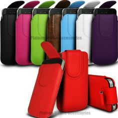 PU LEATHER PULL TAB FLIP POUCH CASE COVER WITH STRAP FOR HTC MOBILE PHONES
