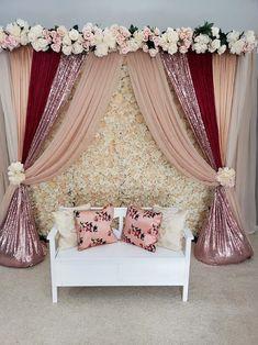 Desi Wedding Decor, Diy Wedding Backdrop, Wedding Stage Decorations, Engagement Decorations, Backdrop Decorations, Wedding Mandap, Wedding Receptions, Wedding Ideas, Baby Girl Shower Themes