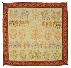 Ethnic Indian Elephant Embroidery Cotton Fair Work Wall Hanging Vintage Tapestry #LalHaveli #AntiqueStyle