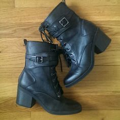 G by Guess Lace up Combat Boots with Heel Excellent condition, worn once. These boots lace-up in the front and have a side buckle, but also a side zipper for easy on. Red and black flannel pattern inside. G by Guess Shoes Combat & Moto Boots