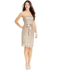 Adrianna Papell Strapless Lace Sheath - Shop all Wedding Dresses - Women - Macy's