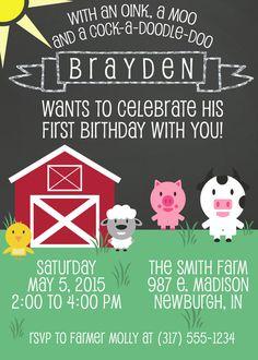 Farm Theme First Birthday Invitation Printable by ViaBarrett