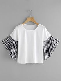 SheIn offers Contrast Gingham Fluted Sleeve Tee & more to fit your fashionable needs.and those sleeves Blouse Styles, Blouse Designs, Dress Outfits, Fashion Dresses, Diy Clothes, Clothes For Women, Sewing Clothes, Vetement Fashion, Diy Shirt