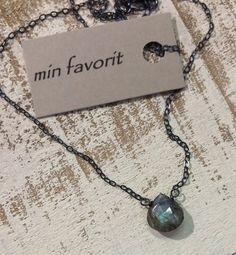 """Labradorite Briolette w/ Blue Green Flash & Oxidized Sterling Silver Rustic Necklace 16"""" by Min Favorit OOAK #rusticbeauty"""