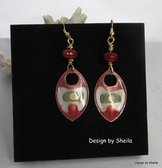 Hand Painted Earrings – Tribal Shield by DesignbySheila on Etsy