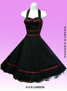 H London Black with Red Piping Retro Swing Dress