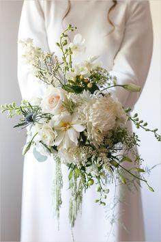 All white wedding bouquet @weddingchicks