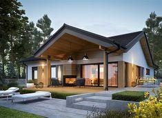 Simon IV G2 energo - zdjęcie 1 Modern Bungalow Exterior, Dream House Exterior, Small House Design, Modern House Design, Home Design, Story House, Facade House, Future House, Home Fashion