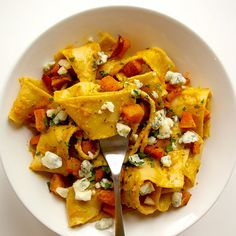 Pappardelle with Roasted Butternut Squash, Sage & Gorgonzola. Looks amazing!