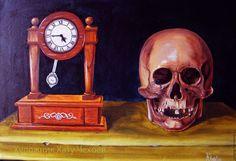 """Купить """"Неизбежность""""-картина маслом - бежевый, картина в подарок, картина для интерьера, масляная живопись, череп"""