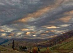 Undulating clouds.