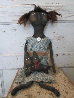 Primitive Grungy Folk Art Doll
