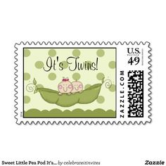 Sweet Little Pea Pod It's Twins Baby Shower Postage Stamps