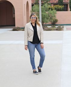 Moto Jacket Casual // What to wear on a casual day when you want to walk around and be comfy in style. Slip-on sneakers from Target, jeans from MissMe and beige moto jacket. Quay sunglasses