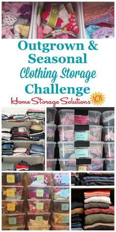 Here's how to deal with the most common clothing storage issues, including both kids outgrown clothes and the seasonal switch of garments twice a year part of the 52 Week Organized Home Challenge on Home Storage Solutions 101 Clothes Storage Solutions, Kids Clothes Storage, Kids Clothes Organization, Clothing Storage, Kids Storage, Storage Hacks, Closet Organization, Storage Ideas, Baby Storage