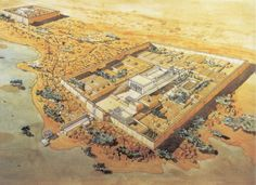 Artist's bird's-eye view reconstruction of the layout the Temple of Hathor complex at Dendara. The whole complex covers some 40,000 square meters and is surrounded by a hefty mud brick enclosed wall. Dendera was a site for chapels or shrines from the beginning of history of ancient Egypt.