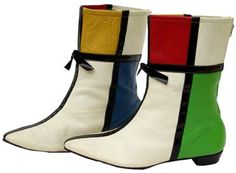 These vinyl go-go boots from 1966 sport a Mondrian-like design