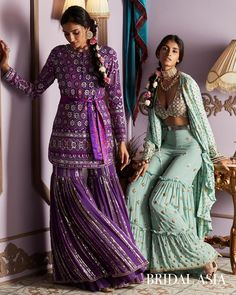 Purple And Mint Green Peplum Lehengas Sharara Designs, Kurti Designs Party Wear, Party Wear Lehenga, Party Wear Dresses, Wedding Dresses, Indian Attire, Indian Ethnic Wear, Indian Style, Indian Wedding Outfits
