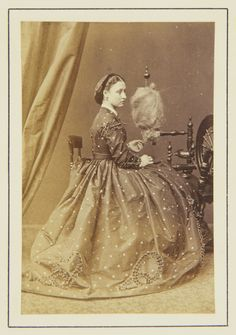 Hills & Saunders - Princess Louise spinning, 1865 [in Portraits of Royal Children Vol.8 1864-1865]