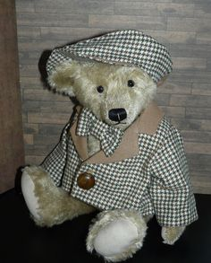 SPORTS JACKET with CAP and BOW TIE, Check pattern, for teddy bears and dolls #forteddyanddolljimdocom
