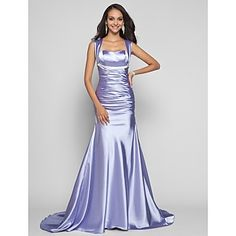 TS Couture Formal Evening / Military Ball Dress - Lavender Plus Sizes / Petite Trumpet/Mermaid Straps Sweep/Brush Train Stretch Satin – USD $ 109.99