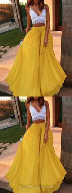 Two Piece Prom Dresses,Long Prom Dresses,Lace Prom Dresses A-line, V-neck Prom Dresses For Teens, Chiffon Prom Dresses with Ruffles #promdresses