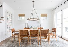 Amber Interiors Creates a Beachy Eclectic Home for Elyse Walker ~ Stace King Dining Room Curtains, Dining Room Colors, Dining Room Lighting, Dining Room Design, Dining Rooms, Dining Table, Blue Curtains, Door Curtains, Sheer Curtains