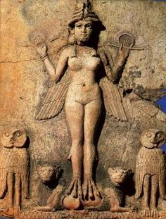 "The Goddess Lilith; c. 2025-1763 BC; Terra-cotta relief; height 19 5/8""; from the Isin-Larsa period; Lilith was the baleful goddess of death (she was also possibly the screech owl from Isaiah 34:14); she holds a looped cord (the symbol of human life or the way in which she takes life); originally, her body was painted red, 1 owl black and the other red, the manes of the lions were black; the scales at the bottom represented the sacred mountain; Ancient Mesopotamian"