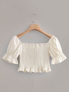 To find out about the Knot Detail Frill Hem Shirred Blouse at SHEIN, part of our latest Women Tops ready to shop online today! Crop Top Outfits, Cute Casual Outfits, Summer Outfits, Fashion News, Fashion Outfits, Womens Fashion, Beige Style, Aesthetic Clothes, Types Of Sleeves