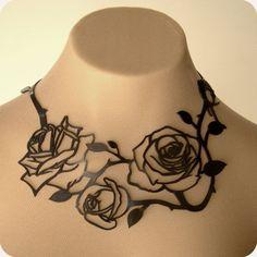 Beautiful cut-work metal rose necklace