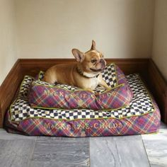 Brand New Mackenzie-Childs Large Tartan Dog Bed--Discontinued And HTF!!   6 each size Medium and small
