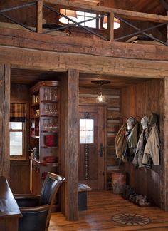 Family Cabin Retreat - love the rustic red decor