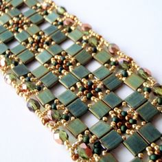 Free Patterns Using Tila Beads | how to create delicate, lacy bracelet using Tila beads and seed beads ...