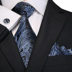 Blue and Black Paisley Necktie Set – Toramon Necktie Company Designer Suits For Men, Designer Ties, Sharp Dressed Man, Well Dressed Men, Nice Clothes For Men, Dapper Suits, Men's Suits, Suit Fashion, Mens Fashion