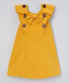 Sweet Charlotte Yellow Ruffle Top - Toddler & Girls by Sweet CharlotteDarling Details ❤~ buttons, bow and ruffles. something special every dayButton-adorned ruffles and a bow accent lend carefree flair to this breezy top crafted from breathable fab Toddler Girl Style, Toddler Dress, Toddler Outfits, Kids Outfits, Toddler Girls, Little Girl Fashion, Kids Fashion, Fashion Wear, Latest Fashion